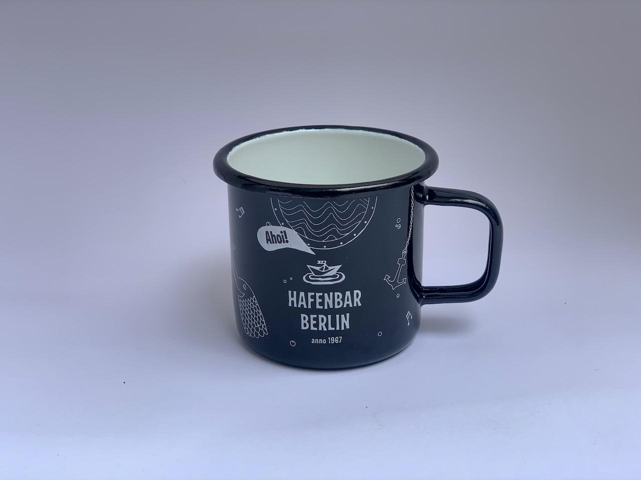 Emaille-Becher Hafenbar schwarz
