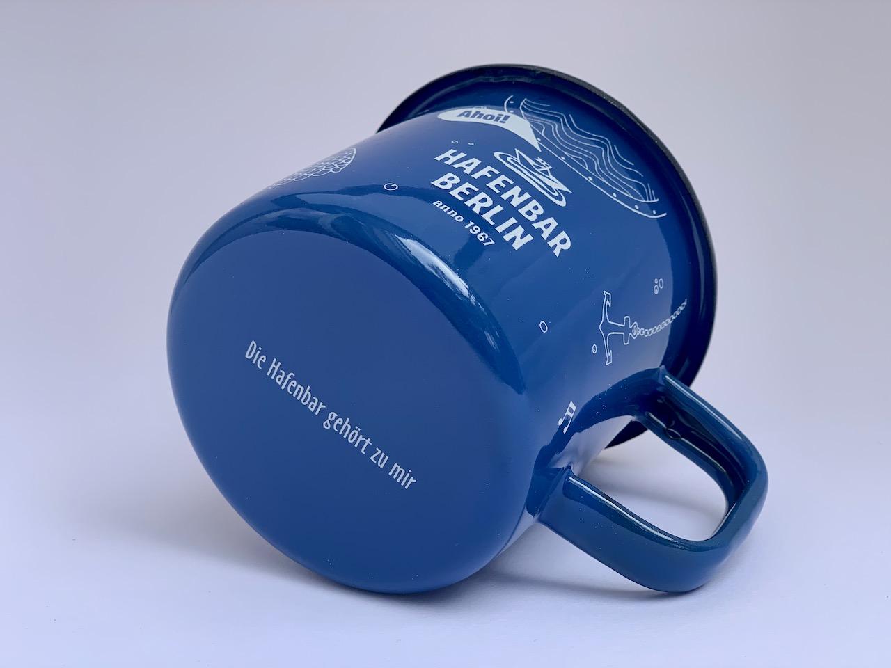 Emaille-Becher Hafenbar blau